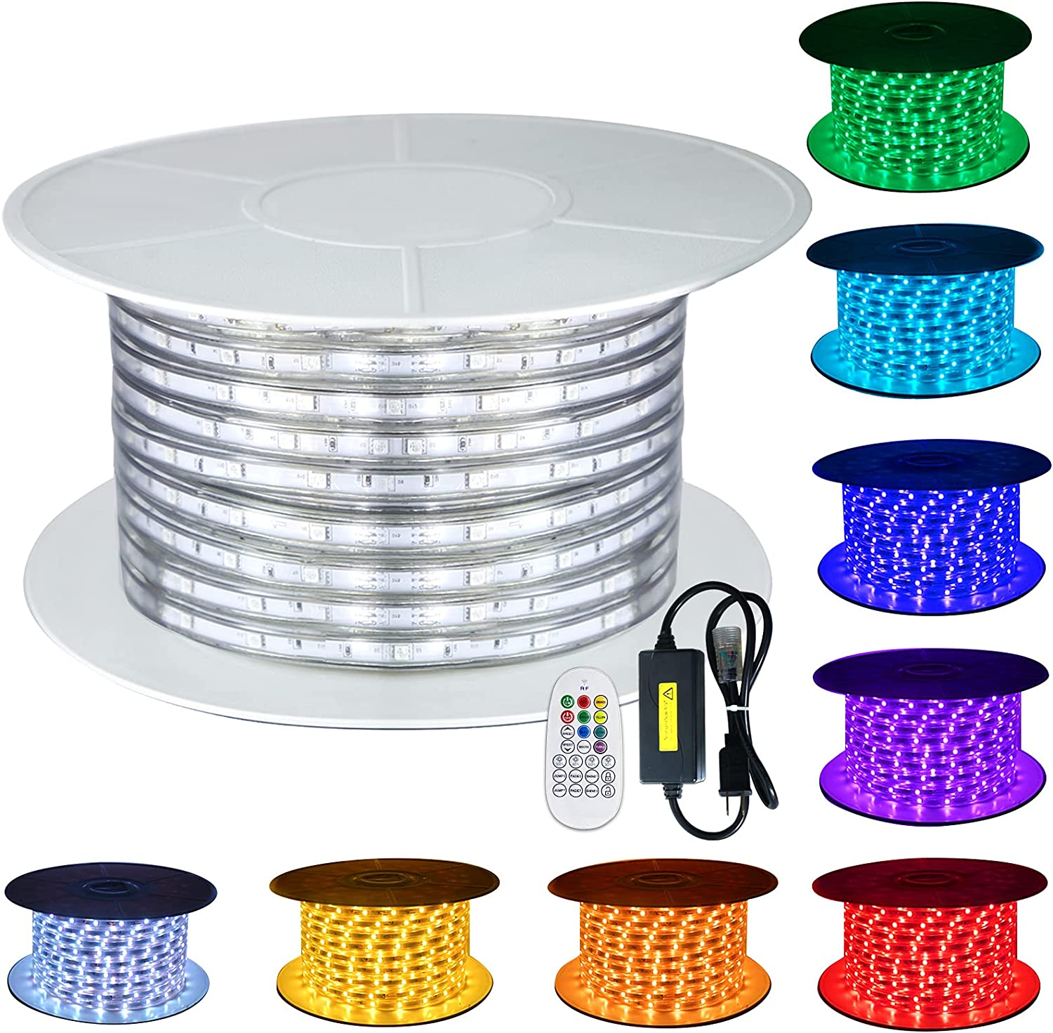 110V Challenge the Max 76% OFF lowest price of Japan ☆ GuoTonG 8 Colors RGB Dimmable 131.2ft Light Outdoor 4 Strip