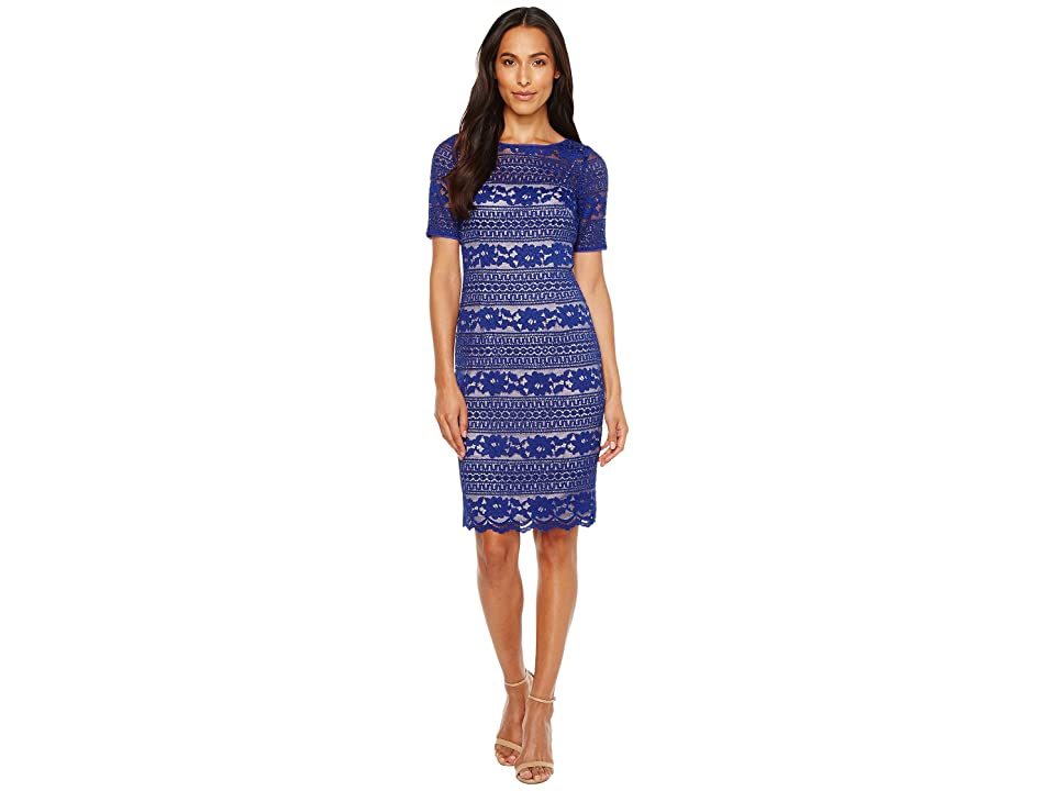 Adrianna Papell Corded Stripe Lace Dress (Neptune) Women