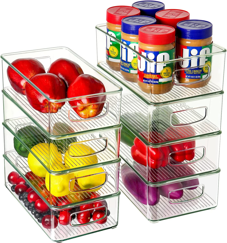 Set of 8 Refrigerator Organizer 4 Direct Fixed price for sale store Bins Large Medium Plastic