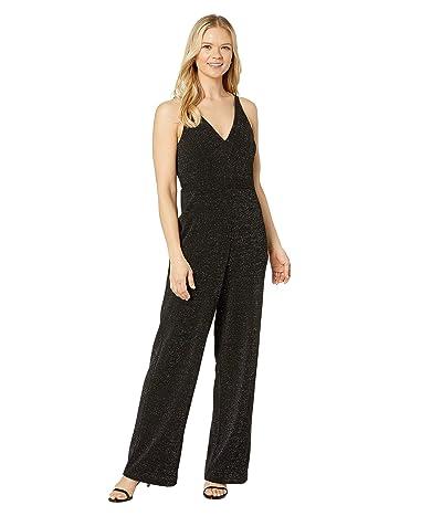 Donna Morgan Metallic Stretch Knit Deep V-Neck Sleeveless Wide Leg Jumpsuit (Silver/Black) Women
