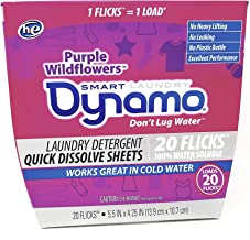Dynamo Flicks Quick-Dissolving Laundry Detergent Sheets by Dynamo | Works in All Standard and HE Washing Machines | Concentrated Laundry Soap | Hot & Cold Water | Purple Wildflower Scent | 20 Sheets