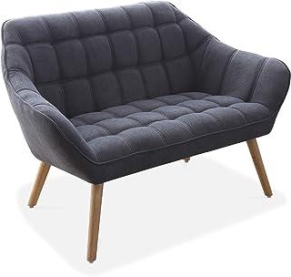 Adec - Olden, Sofá Olden de Dos plazas, sillón de Descanso 2 Personas, Acabado en Tejido Color Gris, Patas de Madera Color Haya, Medidas: 127 cm (Largo) x 75 cm (Ancho) x 77 cm (Alto)