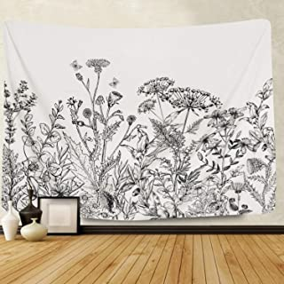 Samuser Vintage Floral Tapestry Wall Hanging Herb Plant Wild Flower Tapestries, 60 x 50, Polyester, Black and White