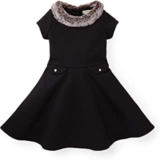 Girls Ponte Skater Dress with Faux Fur Collar