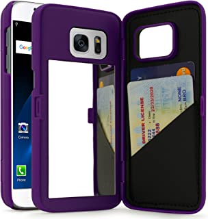 Bastex Galaxy S7 Case, Purple Hidden Back Mirror Wallet Case with Stand Feature and Card Holder for Samsung Galaxy S7 G930