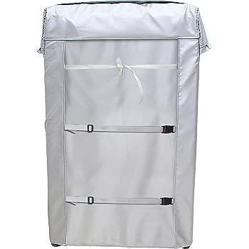 [Mr.You]洗濯機カバー 【デザイン改良】 4面包みデザイン シルバー 台風対応 防水 防塵 日焼け止め バックルつき(XL 62*64*98)
