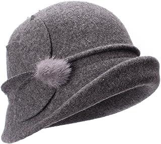 Lawliet Womens Retro Upturn Brim Wool Blend Cloche Church Wedding Hat A474