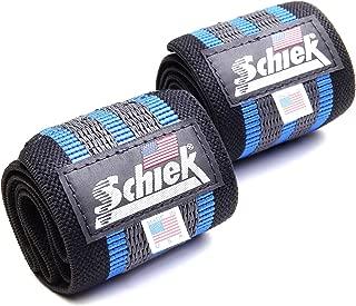 Schiek Heavy Duty Rubber Reinforced Wrist Wraps (Blue)