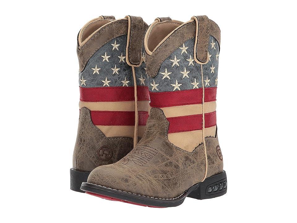 Roper Kids Patriot (Toddler/Little Kid) (Faux Leather Vamp Stars & Stripes Shaft) Cowboy Boots
