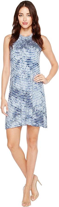 Tie-Dye Stripe Halter Dress