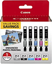 Canon CLI-251 BK/C/M/Y/GY 5 Color Value Pack Compatible to MG7520, MG5620, MG6620
