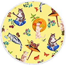 YAXIUFEN 29 Options Thick Soft Super Water Absorbent Multi-Purpose 60 inch 3D Printing Large Round Beach Towel Circle Picnic Carpet Yoga Mat Blanket with Tassels (Funny Cat)