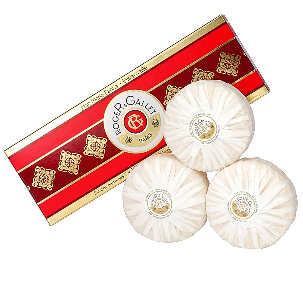 トリクルガラス店主ロジャー&Galletのジーンズマリーファリナ石鹸は、3つのX 100グラムを設定しました (Roger & Gallet) - Roger & Gallet Jean Marie Farina Soap Set 3 x 100g [並行輸入品]