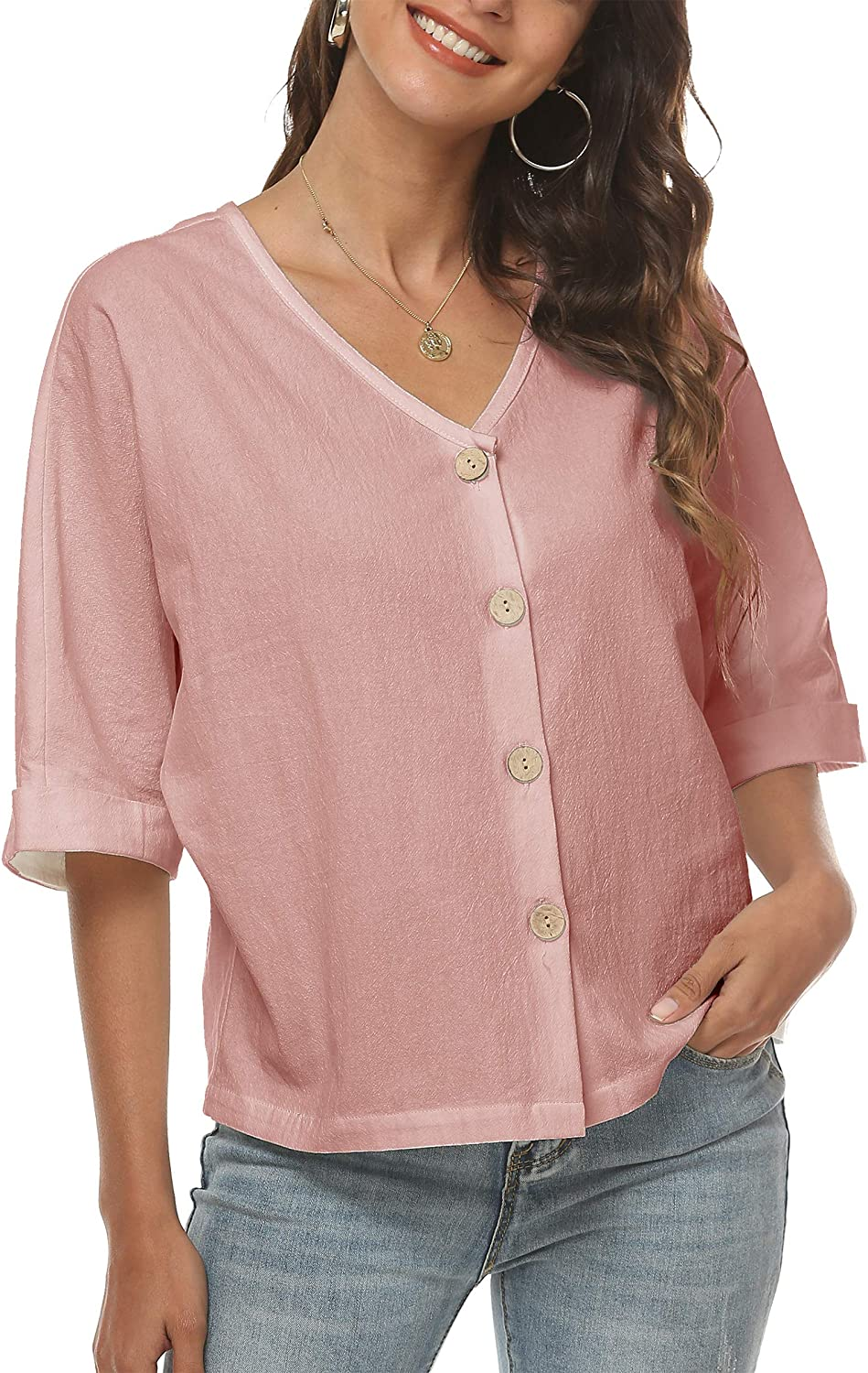 LNX Womens Linen Tops Button Down V Neck Half Cuffed Sleeve Two Wear Casual Summer T Shirts (Small, Pink)