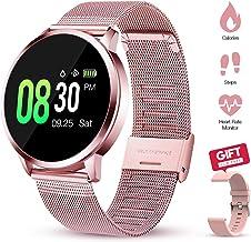 GOKOO Smartwatch Mujer Rosa Reloj Inteligente de Fitness a Prueba de Agua IP67 Pulsera Deportiva Inteligente con Monitor de Sueño Monitor de Frecuencia Cardíaca de Calorías del Podómetro