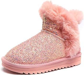 Odema Girls Boys Kids Glitter Sequins Snow Boots Winter Fur Ankle Bootie(Toddler/Little Kid/Big Kid)