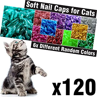 120 pcs Glitter Soft Cat Claw Caps for Cats Nail Claws 6X Different Random Colors + 6X Adhesive Glue + 6X Applicator, Pet Cap Tips Cover Paws Grooming Soft Covers