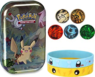 Totem World 5 Official Collectible Pokemon TCG Coins Set with Bracelet Collectible Kanto Tin
