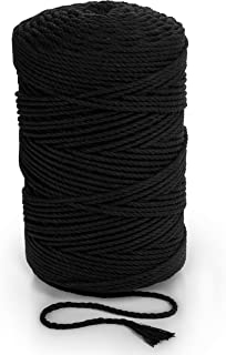 Black Macrame Rope 5mm x 262 yd Cotton Cord 240m Macrame Cord Soft Cotton String 3 Strand Twisted Yarn Coloured Rope for H...
