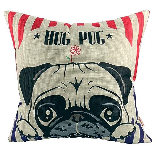 Luxbon Lovely Hug Pug Cushion Covers 45x45cm Durable Cotton Linen Throw Pillow Case 18X18 Puppy Home