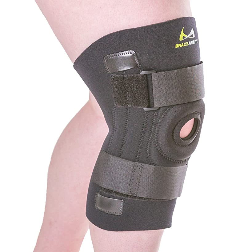 BraceAbility Knee Brace for Large Legs and Bigger People with Wide Thighs | Kneecap Protection Pad Treats Patellar Tendonitis, Chondromalacia, Patellofemoral Pain, Instability & Dislocation (2XL)