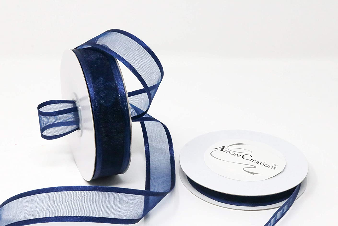 Navy Blue Organza Ribbon with Satin Edge-25 Yards X 5/8 Inches