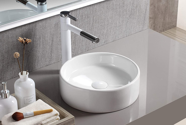 Elanti Elite Sinks 1102 Porcelain Vessel Round Flat Side Bowl Sink White