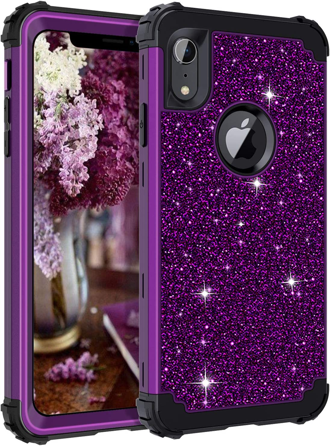 LONTECT Compatible iPhone XR 2018 Case Glitter Sparkle Bling Heavy Duty Hybrid Sturdy High Impact Shockproof Protective Cover Case for Apple iPhone XR 6.1 Display, Shiny Purple