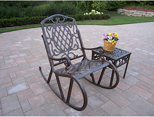 B0033JDO9E✅Oakland Living Mississippi Cast Aluminum 2-Piece Rocking Set in Antique Bronze with 18-Inch Side Table