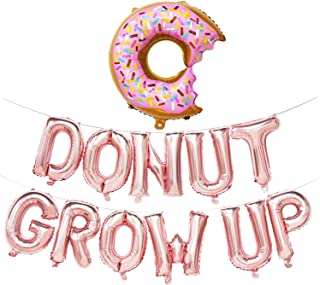 Donut Grow Up Balloons | Donut Grow Up Birthday Banner | Donut Birthday Party Decorations | Donut Theme Party Supplies | Donut Shape Balloons (Rose Gold)