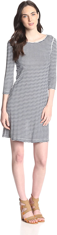 Three Dots Women's Chevron Stripe Boat Neck Dress
