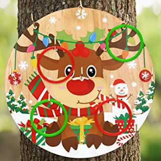 Huray Rayho Xmas Christmas Target Game Reindeer Wooden Ring Toss Game Christmas Indoor Outdoor Toy and Game Great for Home...