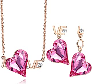 ZRU Love Heart Necklaces and Earrings Jewelry Set for Women, Rose Gold Plated Pendant Necklace with Heart Crystal, Birthda...