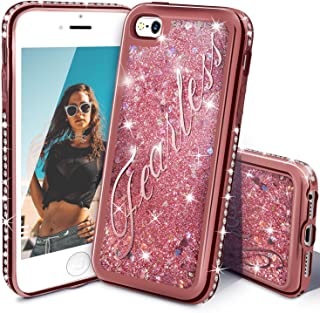 iPhone SE Case, Miss Arts iPhone 5S/5 Glitter Case, Girls Women Cute Flowing Liquid Holographic Holo Glitter Case with Luxury Bling Diamond Bumper for Apple iPhone SE/5S/5 -Rose Gold