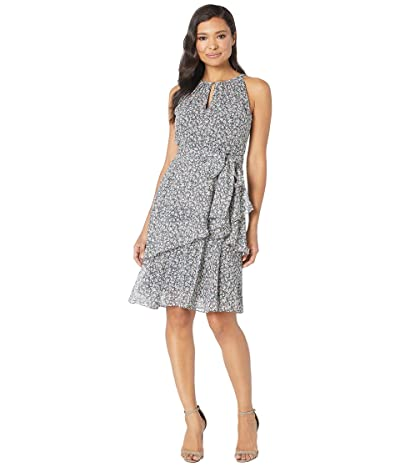 Tahari by ASL Ditsy Floral Chiffon Tiered Halter Dress (Ditsy Floral Navy Combo) Women