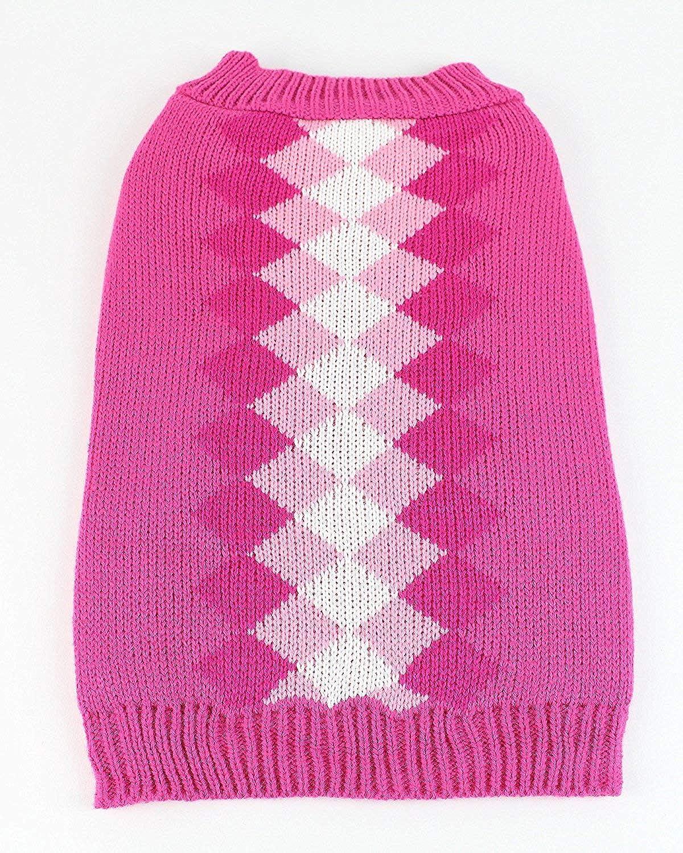 Midlee Argyle Dog Sweater (XSmall, Pink)