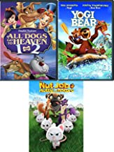 Surly Squirrel Bears & Dogs 4 Movie Set Nut Job 2 Nutty by Nature + All Dogs Go To Heaven 1 & 2 + Yogi Bear Movie Animated Kids Fun DVD Pack