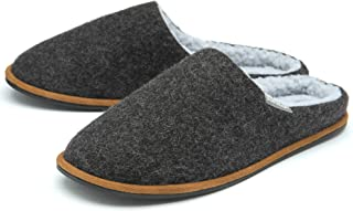 Dunlop Mens Slippers Slip On Mule Faux Fur Lined Felt Memory Foam Sizes 7-12