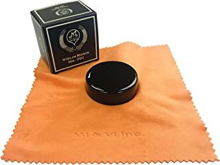 MI&VI Premium Quality Dark Rosin for Violin, Viola, Cello Bows - Black, Velvet Cloth, Round Shape Resin, Super Sensitive