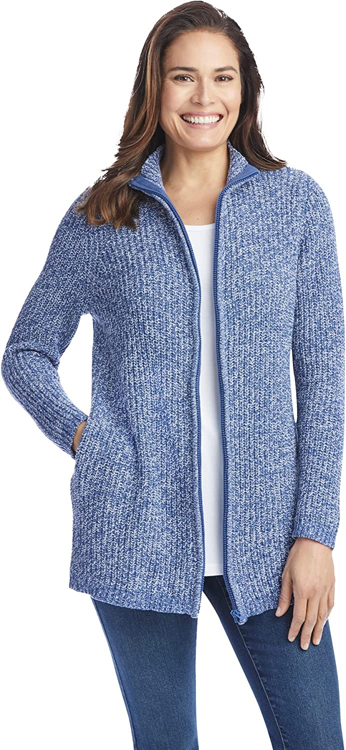 Woman Within Women's Plus Size Zip Front Shaker Cardigan Sweater