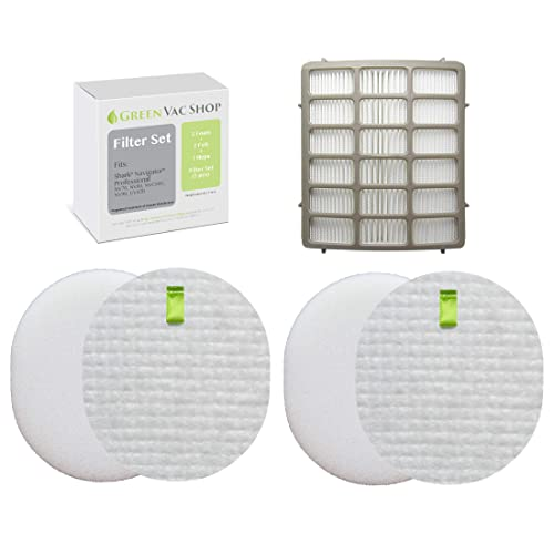 GreenVacShop 2+1 Pk Shark Navigator Professional (NV70, NV71, NV80, NVC80C, UV420)& Shark Rotator Professional XL Capacity (NV90, NV95) Replacement Filter Set, 2 Foam+2 Felt+1 HEPA Filters XFF80 XHF80