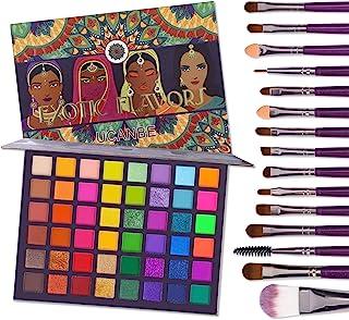 UCANBE EXOTIC FLAVORS Eyeshadow Palette + 15 PCS Eye Brushes Makeup Set 48 Colors Neon Shimmer Matte Glitter Eye Shadow Po...