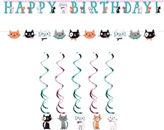 Purr Fect Kitty Cat Kitten Decorating Kit - Danglers, Happy Birthday Banner, Kitten Banner