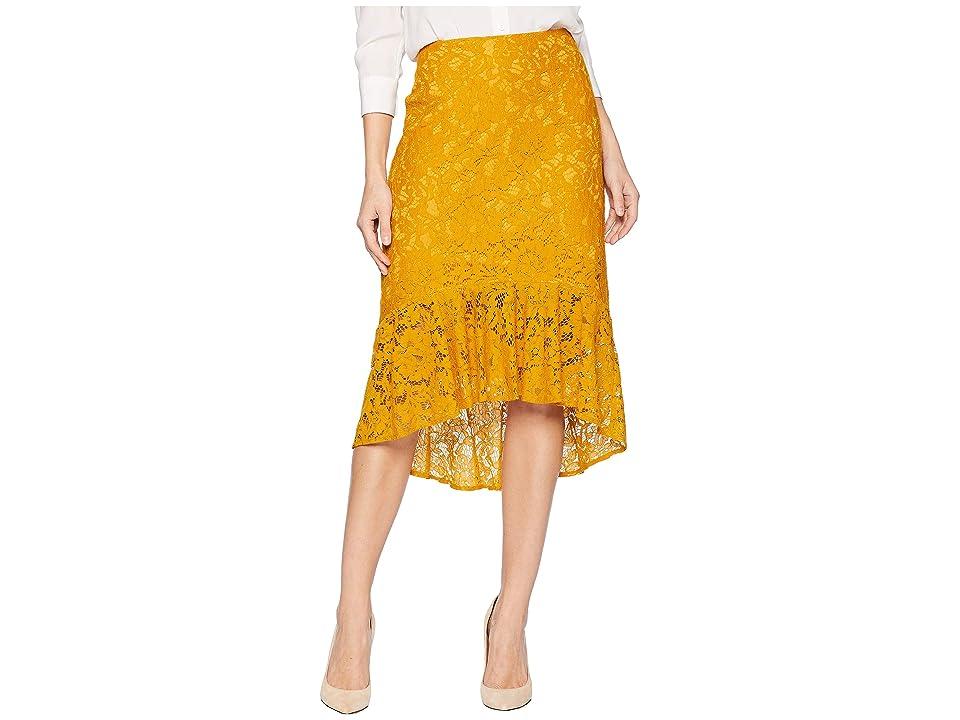eci Lace Pencil Skirt with Ruffle (Mustard) Women