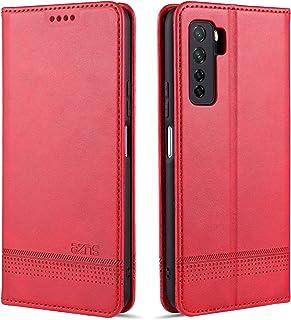 電話ケース Huawei Nova 7 SE AZNSマグネティックカーフテクスチャーホリゾンタルフリップレザーケース、カードスロット&ホルダー&ウォレット付き