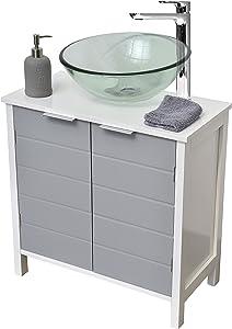 TENDANCE Mobile per lavabo - 2 anta 1 ripiano - Colore: BIANCO e GRIGIO