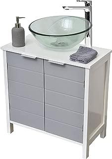 EVIDECO  Non Pedestal Under Sink Storage Vanity Cabinet-Modern D-White and Grey