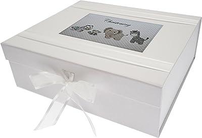 White Cotton Cards–Caja de Recuerdo de Bautizo Grande, Plata Juguetes, Animales, Junta, Color Blanco, 27,2x 32x 11cm