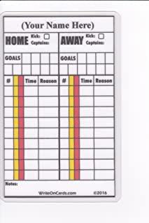 Soccer Write-on Referee Cards, Personalized with your name. 2-Game Record.
