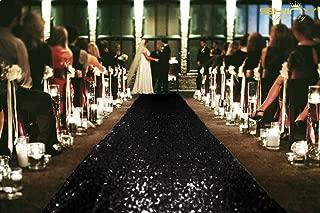 ShinyBeauty 4FTX15FT-Sequin Aisle Runner-Black Sparkly Carpet Runner for Wedding/Christmas/Thanksgiving Decor(36x180-Inch)
